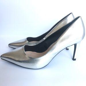 Zara Metallic Silver High Heels (Trafaluc Line) 9